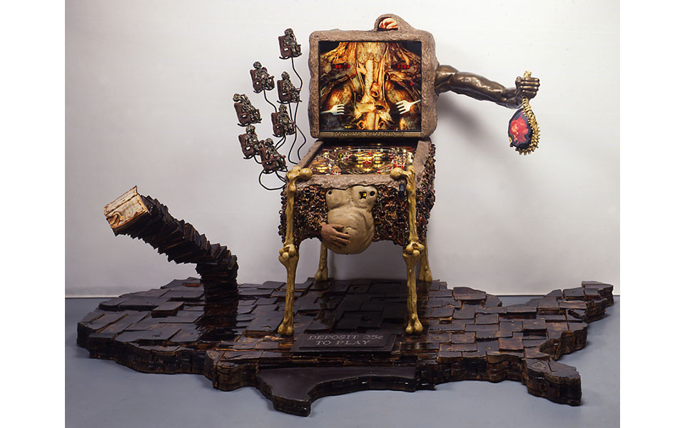 Marc Rubin, Enterdetainment for the United States of MInd, working pinball machine, mixed media, 13 x 6 x 5 ft.