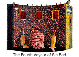 Marc Rubin, The Fourth Voyeur of Sin Bad, mixed media, coin activated viewer, live canary, soundtrack, revolving stage, 13 x 9 x 5 ft.